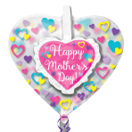"""Happy Mother's Day Ruffle Heart Insiders Foil Balloons 26""""/66cm x 26""""/66cm P60 - 5 PC"""