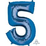 """Number 5 Blue SuperShape Foil Balloons 21""""/53cm w x 34""""/86cm h P50 - 5 PC"""