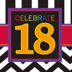 18th Celebrate Luncheon Napkins 33cm - 12 PKG/16