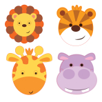 Jungle Friends Card Masks - 6 PKG/8