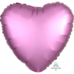 Flamingo Heart Satin Luxe Standard HX Foil Balloons S15 - 10 PC