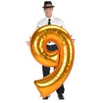 "Number 9 Gold Jumbo SuperShape Foil Balloons 33""/83cm w x 54""/137cm h L53- 3 PC"