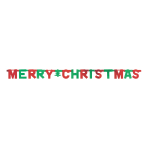 Red & Green Merry Christmas Letter Banners 1.5m x 10.8cm - 12 PC