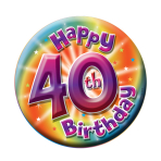 40th Birthday Large Badge  - 15cm - 6 PKG
