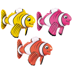 Inflatable Striped Fish 43cm - 12 PC