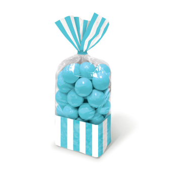 Caribbean Blue Candy Buffet Striped Party Bags - 24 PKG/10