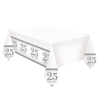 Sparkling Silver Anniversary Plastic Tablecovers 1.2m x 1.8m - 6 PC
