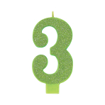 Giant Size Numeral Kiwi Green Glitter Candles 13.3cm #3 - 12 PC