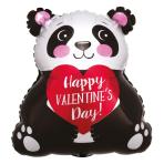 """Happy Valentine's Day Panda Junior Shape XL Foil Balloons 15""""/38cm x 16""""/40cm S40 - 5 PC"""