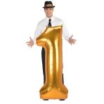 "Number 1 Gold Jumbo SuperShape Foil Balloons 22""/55cm w x 53""/134cm h L53 - 3 PC"