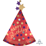 """Happy Birthday Red Satin Party Hat SuperShape Foil Balloons 27""""/68cm w x 36""""/91cm h P35 - 5 PC"""