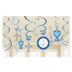1st Communion Blue Swirl Decorations - 6 PKG/12