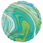 Marblez Blue Green Circle Standard HX Foil Balloons S15 - 5 PC