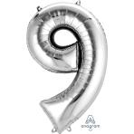 """Number 9 Silver SuperShape Foil Balloons 23""""/58cm w x 35""""/88cm h P50 - 5 PC"""