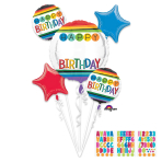 Rainbow Birthday Personalised Foil Balloon Bouquets P90 - 3 PC