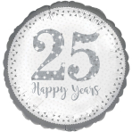 Sparkling 25th Silver Anniversary Standard Foil Balloons S40 - 5 PC