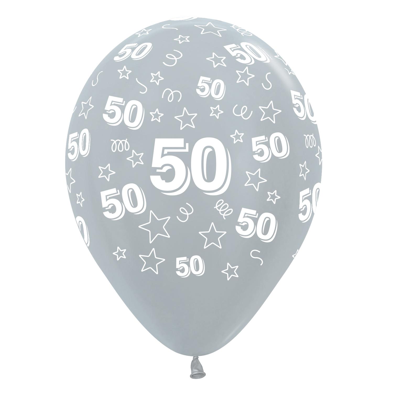 50th Birthday Stars Silver 481 Gold 570 Black 580 Mix Latex Balloons 12 30cm