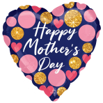 """Happy Mother's Day Navy & Pink Glitter Dots Jumbo Satin Luxe Foil Balloons 28""""/71cm w x 28""""/71cm h P32 - 5 PC"""
