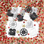 Light! Camera! Action! Embossed Metallic Mix Confetti-12 PC