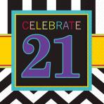 21st Celebrate Luncheon Napkins 33cm - 12 PKG/16
