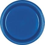 Bright Royal Blue Plastic Plates 23cm - 10 PKG/20