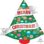 Ribbon Christmas Tree Junior Shape Foil Balloons S50 - 5 PC