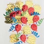 Cake Party Multi Colour Embossed Metallic Confetti - 12 PC