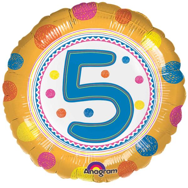 "Birthday Table Acnl: SpotOn Age 5/5th Birthday 18"" Foil Balloon"