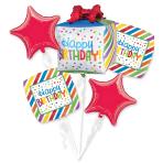 Happy Birthday Present Foil Balloon Bouquets P75 - 3 PC