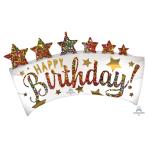 "Satin Happy Birthday Glitter Banner SuperShape Foil Balloons 24""/60cm w 35""/88cm h P35 - 5 PC"