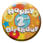 Happy 2nd Birthday Badges Small 55mm Holographic - 12 PKG