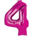 """Number 4 Pink Minishape Foil Balloons 16""""/""""40cm A04 - 5 PC"""