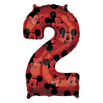 "Mickey Mouse Forever Number 2 Mid-Size SuperShape Foil Balloons 17""/43cm w x 26""/66cm h L26 - 5 PC"