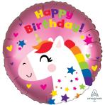 Unicorn Birthday Satin Standard HX Foil Balloons S40 - 5 PC