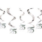 Silver Anniversary Wishes Streaming Swirls Decorations - 6 PKG/5
