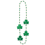 St. Patrick's Shamrock Necklaces with Pearls 91cm - 12 PC