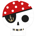 Treasure Island Pirate Skull Shaped Plates 26cm - 6 PKG/8