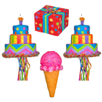 Assorted Birthday Designs Pinatas - 4 PC