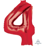 """Number 4 Red SuperShape Foil Balloons 26""""/66cm w x 34""""/86cm h P50 - 5 PC"""