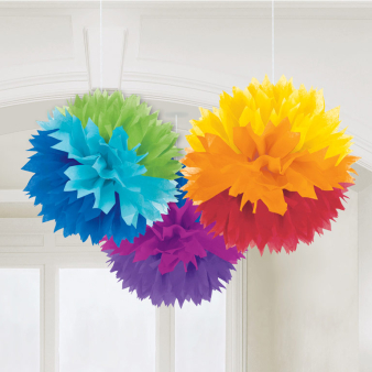 Rainbow Fluffy Paper Decorations 40cm - 6 PKG/3