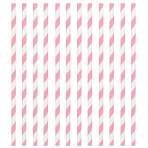 New Pink Paper Straws 19cm - 12 PKG/24
