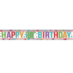 Multi Colour Happy 30th Birthday Holographic Foil Banners 2.7m - 12 PC