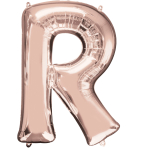 Letter R Rose Gold SuperShape Foil Balloons 23/58cm w x 32/81cm h P50 - 5 PC