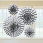 Silver Glitter Paper Fans - 6 PKG/4