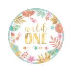 "Boho Birthday Girl ""Wild One"" Metallic Paper Plates 18cm - 12 PKG/8"