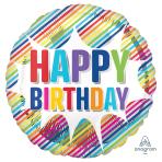 Happy Birthday Striped Burst Standard HX Foil Balloons S40 - 5 PC
