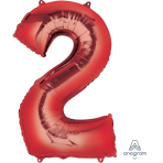 """Number 2 Red SuperShape Foil Balloons 21""""/53cm w x 35""""/88cm h P50 - 5 PC"""