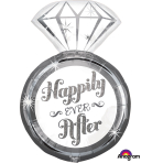 "Happily Ever After Ring SuperShape Foil Balloons 18""/45cm w x 27""/68cm h P35 - 5 PC"