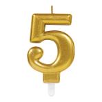 Gold Metallic Finish Candles #5 - 12 PC