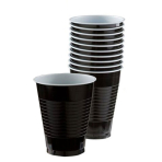 Jet Black Plastic Cups 355ml - 20 PKG/50